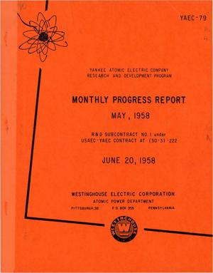 Primary view of object titled 'Monthly Progress Report for the Period May 1-31, 1958'.