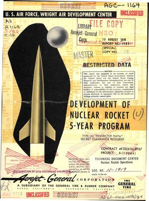 Primary view of object titled 'Development of a nuclear rocket. 5-year-program outline'.