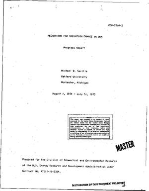 Primary view of object titled 'Mechanisms for radiation damage in DNA. Progress report, August 1, 1974-- July 31, 1975'.