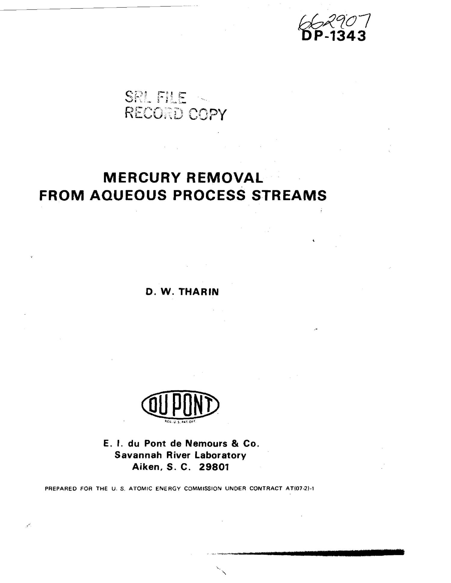 Mercury removal from aqueous process streams                                                                                                      [Sequence #]: 1 of 24