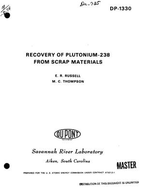 Primary view of object titled 'Recovery of plutonium-238 from scrap materials'.
