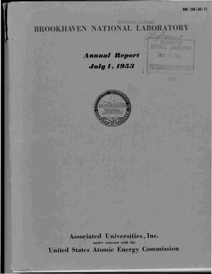 Primary view of object titled 'ANNUAL REPORT JULY 1, 1953'.