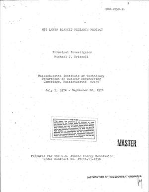 Primary view of object titled 'MIT LMFBR blanket research project. Quarterly progress report, July 1, 1974--September 30, 1974'.