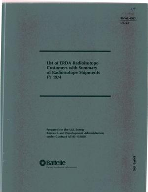Primary view of object titled 'List of ERDA radioisotope customers with summary of radioisotope shipments, FY-1974'.