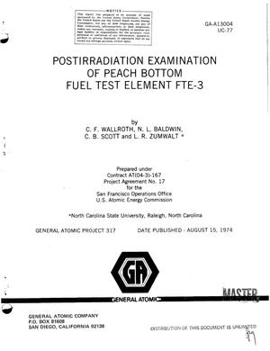 Primary view of object titled 'Postirradiation examination of Peach Bottom fuel test element FTE-3'.