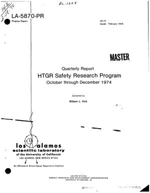 Primary view of object titled 'HTGR safety research program. Quarterly report, October--December 1974'.