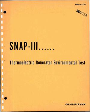 Primary view of object titled 'SNAP-III--Thermoelectric Generator Environmental Test'.