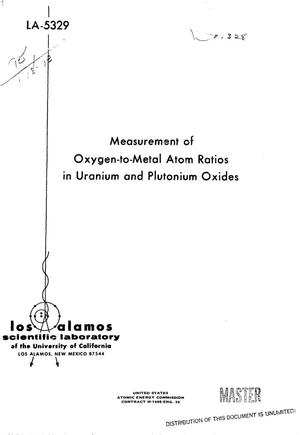 Primary view of object titled 'Measurement of oxygen-to-metal atom ratios in uranium and plutonium oxides'.