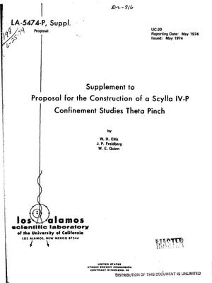 Primary view of object titled 'Supplement to proposal for the construction of a Scylla IV-P confinement studies theta pinch'.
