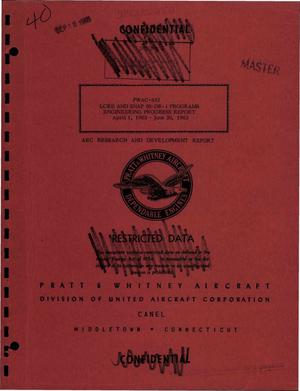 Primary view of object titled 'LCRE and SNAP 50-DR-1 programs. Engineering and progress report, April 1, 1963--June 30, 1963'.