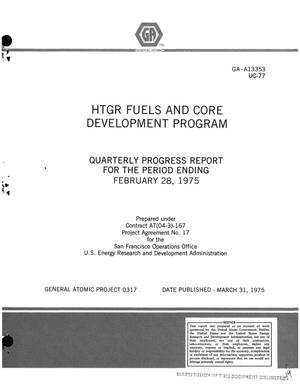 Primary view of object titled 'HTGR fuels and core development program. Quarterly progress report for the period ending February 28, 1975'.