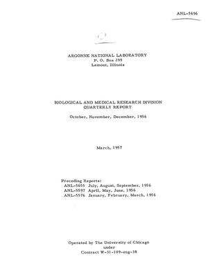 Primary view of object titled 'BIOLOGICAL AND MEDICAL RESEARCH DIVISION QUARTERLY REPORT FOR OCTOBER, NOVEMBER, DECEMBER 1956'.