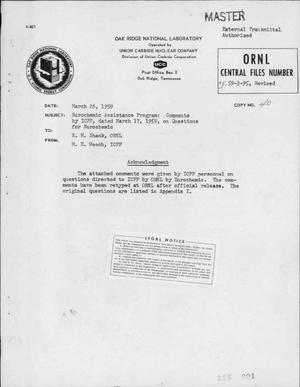 Primary view of object titled 'Eurochemic Assistance Program: Comments by ICPP, Dated March 17, 1959, on Questions for Eurochemic'.