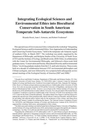 Primary view of object titled 'Integrating Ecological Sciences and Environmental Ethics into Biocultural Conservation in South American Temperate Sub-Antarctic Ecosystems'.