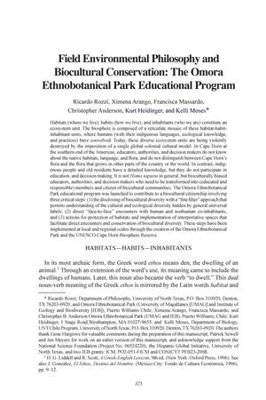 Field Environmental Philosophy and Biocultural Conservation: The Omora Ethnobotanical Park Educational Program