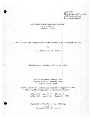 Primary view of object titled 'EFFECTS OF IRRADIATION OF SOME URANIUM-PLUTONIUM ALLOYS. Final Report-- Metallurgy Program 6.5.3 Work Completed: March 1955'.