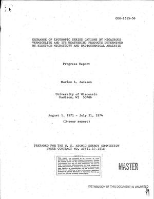 Primary view of object titled 'Exchange of lyotropic series cations by micaceous vermiculite and its weathering products determined by electron microscopy and radiochemical analysis. Progress report, August 1, 1971--July 31, 1974'.