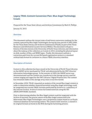Primary view of object titled 'Legacy TRAIL Content Conversion Plan: Blue Angel Technology Crawls'.