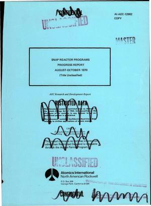Primary view of object titled 'SNAP reactor programs progress report, August--October 1970'.