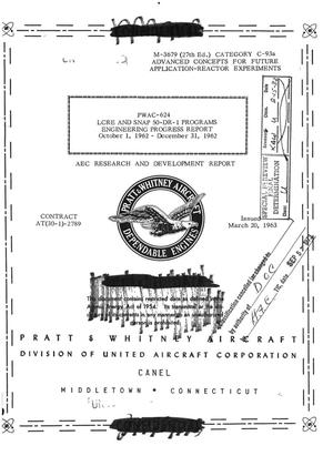 Primary view of object titled 'LCRE and SNAP 50-DR-1 programs. Engineering progress report, October 1, 1962--December 31, 1962'.