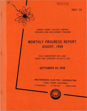 Primary view of object titled 'Monthly Progress Report for the Period August 1 to 31, 1958'.