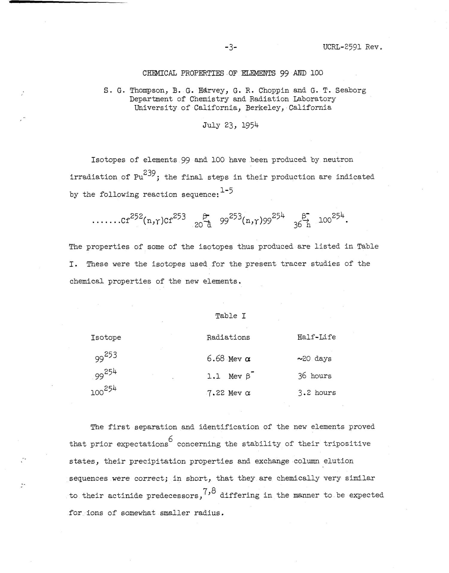 Chemical Properties of Elements 99 and 100                                                                                                      [Sequence #]: 3 of 36