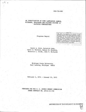 Primary view of object titled 'Investigation of some lanthanide carbon, nitrogen, chalcogen, and halogen systems at elevated temperatures. Progress report, February 1, 1974--January 31, 1975'.