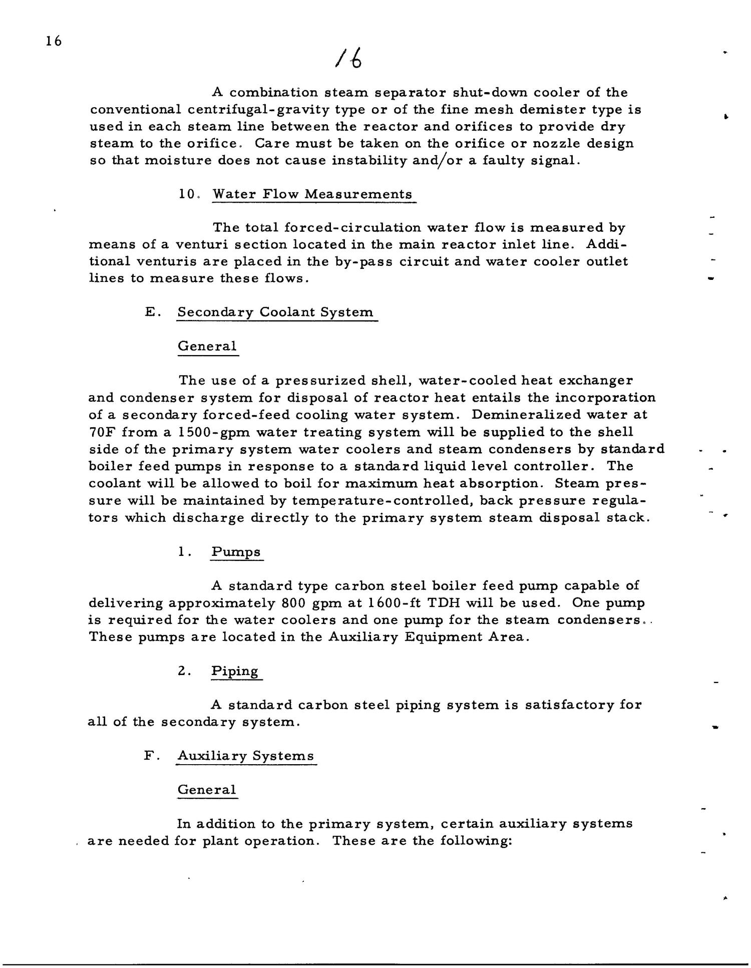 PRELIMINARY DESIGN REQUIREMENTS ARGONNE BOILING REACTOR (ARBOR) FACILITY. Revision I                                                                                                      [Sequence #]: 18 of 161
