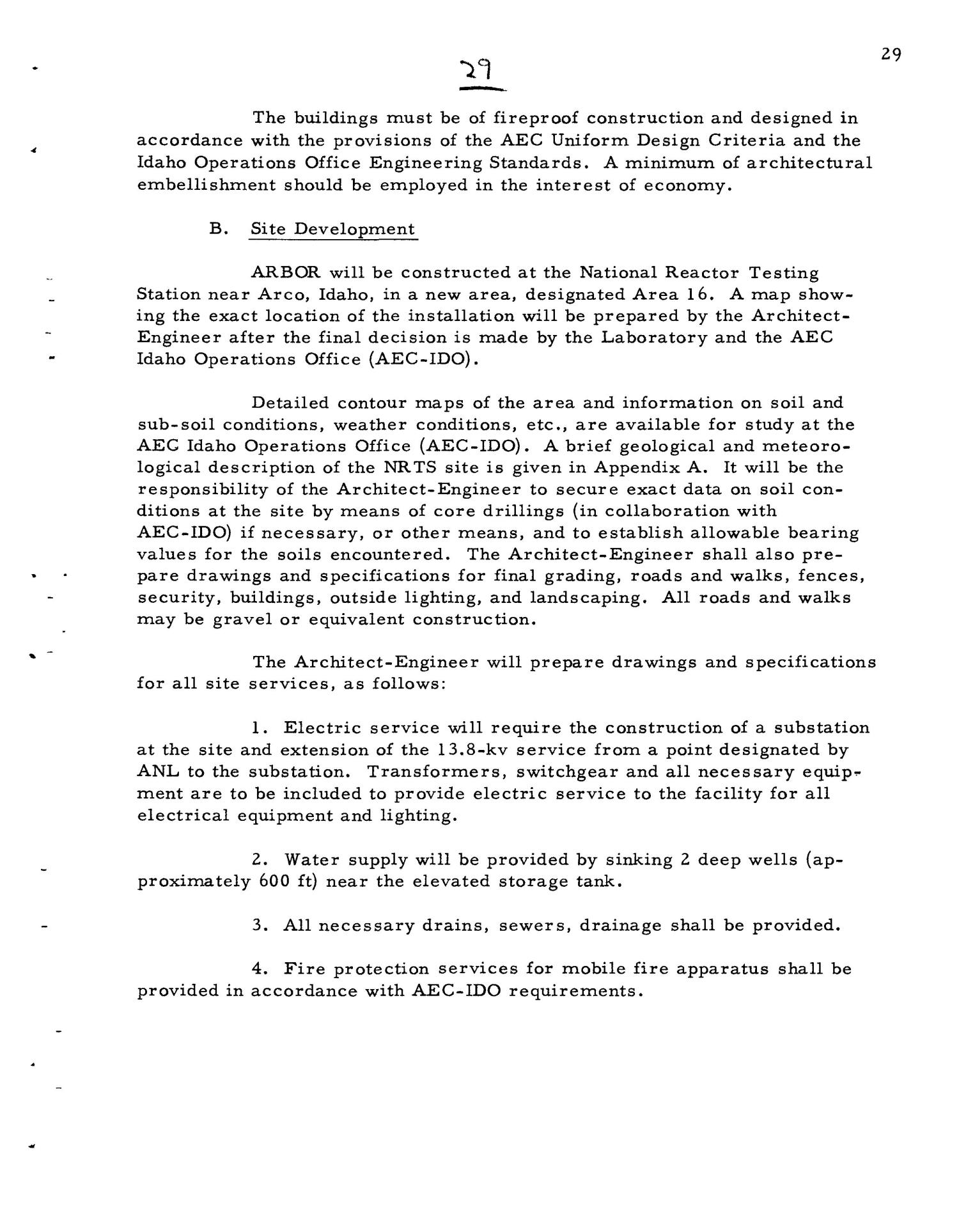 PRELIMINARY DESIGN REQUIREMENTS ARGONNE BOILING REACTOR (ARBOR) FACILITY. Revision I                                                                                                      [Sequence #]: 31 of 161