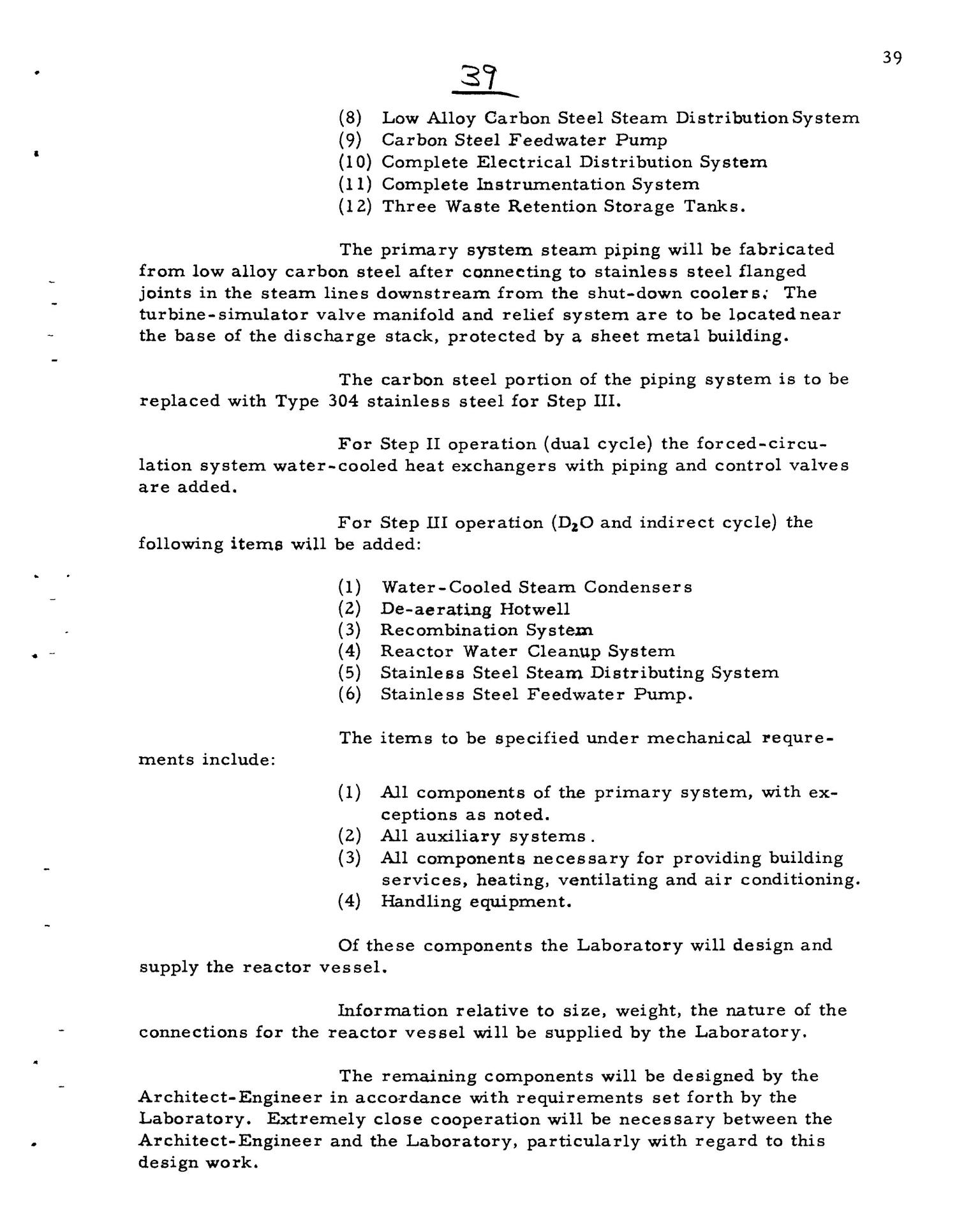 PRELIMINARY DESIGN REQUIREMENTS ARGONNE BOILING REACTOR (ARBOR) FACILITY. Revision I                                                                                                      [Sequence #]: 41 of 161