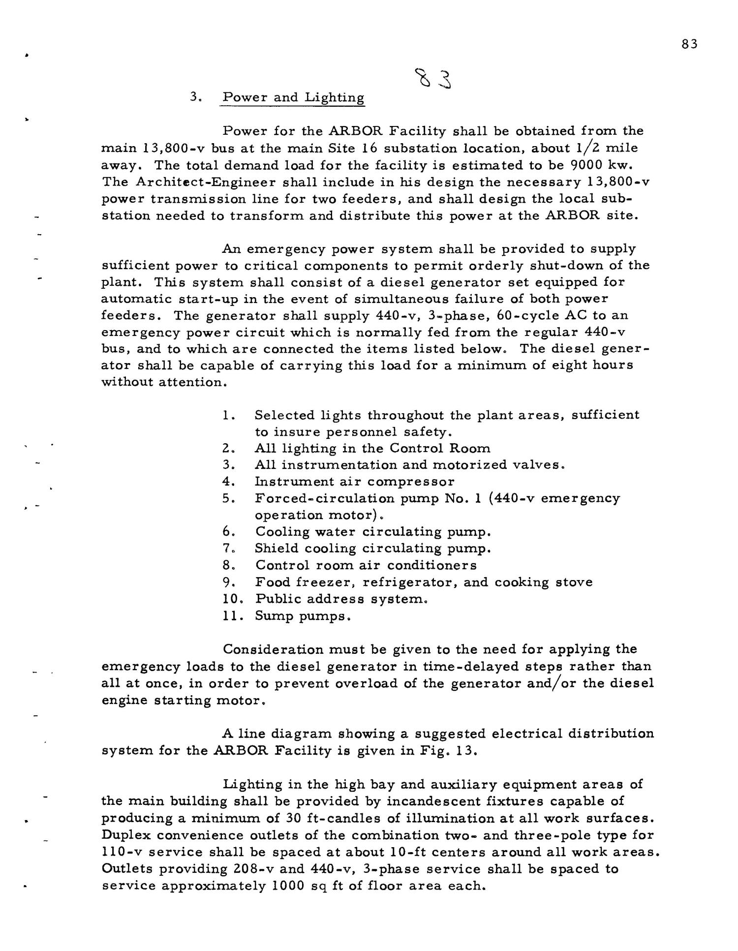PRELIMINARY DESIGN REQUIREMENTS ARGONNE BOILING REACTOR (ARBOR) FACILITY. Revision I                                                                                                      [Sequence #]: 85 of 161