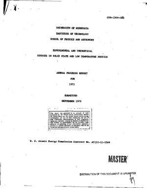 Primary view of object titled 'Experimental and theoretical studies in solid state and low-temperature physics. Annual progress report for 1973'.