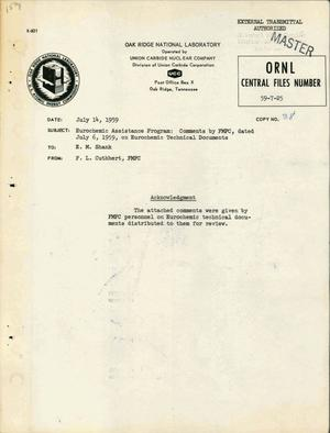 Primary view of object titled 'EUROCHEMIC ASSISTANCE PROGRAM: COMMENTS BY FMPC, DATED JULY 6, 1959, ON EUROCHEMIC TECHNICAL DOCUMENTS'.