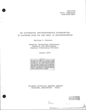 Primary view of object titled 'Differential spectrophotometric determination of plutonium using the Cary Model 16 spectrophotometer'.