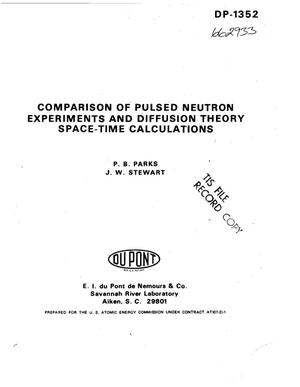 Primary view of object titled 'Comparison of pulsed neutron experiments and diffusion theory space--time calculations'.