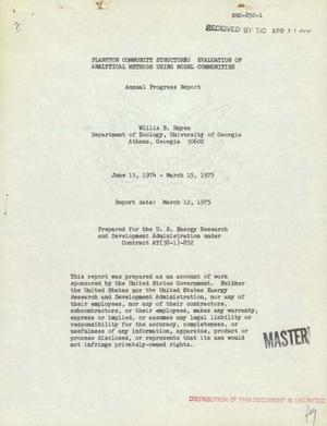 Primary view of object titled 'Plankton community structure: evaluation of analytical methods using model communities. Annual progress report, June 15, 1974--March 15, 1975'.