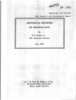 Primary view of object titled 'MECHANICAL PROPERTIES OF URANIUM PLATE'.