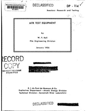 Primary view of object titled 'MTR TEST EQUIPMENT'.