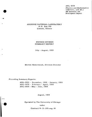 Primary view of object titled 'Physics Division Summary Report for July-August 1959'.