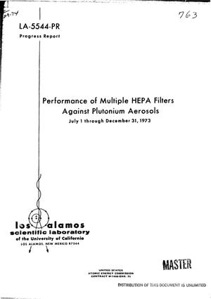Primary view of object titled 'Performance of multiple HEPA filters against plutonium aerosols. Progress report, July 1--December 31, 1973'.