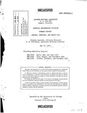Primary view of object titled 'CHEMICAL ENGINEERING DIVISION SUMMARY REPORT FOR JANUARY, FEBRUARY, AND MARCH 1953'.