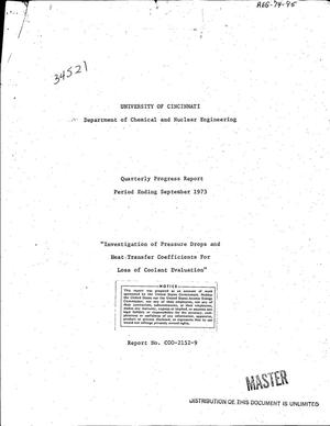 Primary view of object titled 'Investigation of pressure drops and heat transfer coefficients for loss of coolant evaluation. Quarterly progress report, period ending September 1973'.