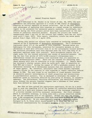 Primary view of object titled 'Annual progress report, 1 September 1973--1 April 1974'.