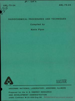 Primary view of object titled 'Radiochemical procedures and techniques'.