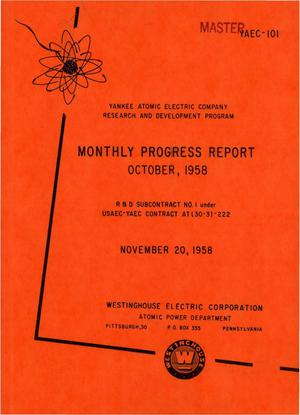 Primary view of object titled 'Monthly Progress Report for the Period October 1 to 31, 1958'.