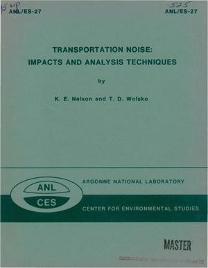 Primary view of object titled 'Transportation noise: impacts and analysis techniques'.