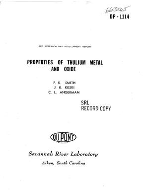 Primary view of object titled 'Properties of Thulium Metal and Oxide.'.