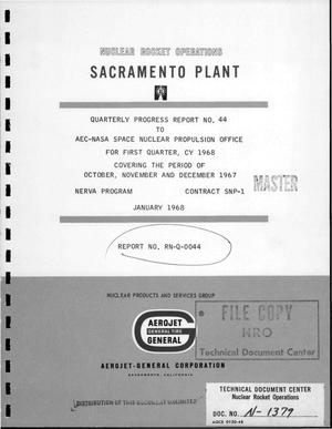 Primary view of object titled 'Quarterly progress report No. 44. For first quarter, CY 1968, covering the period of October, November, and December 1967'.
