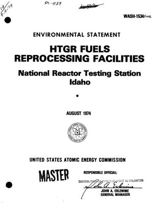 Primary view of object titled 'HTGR fuels reprocessing facilities, National Reactor Testing Station, Idaho. Final environmental statement'.