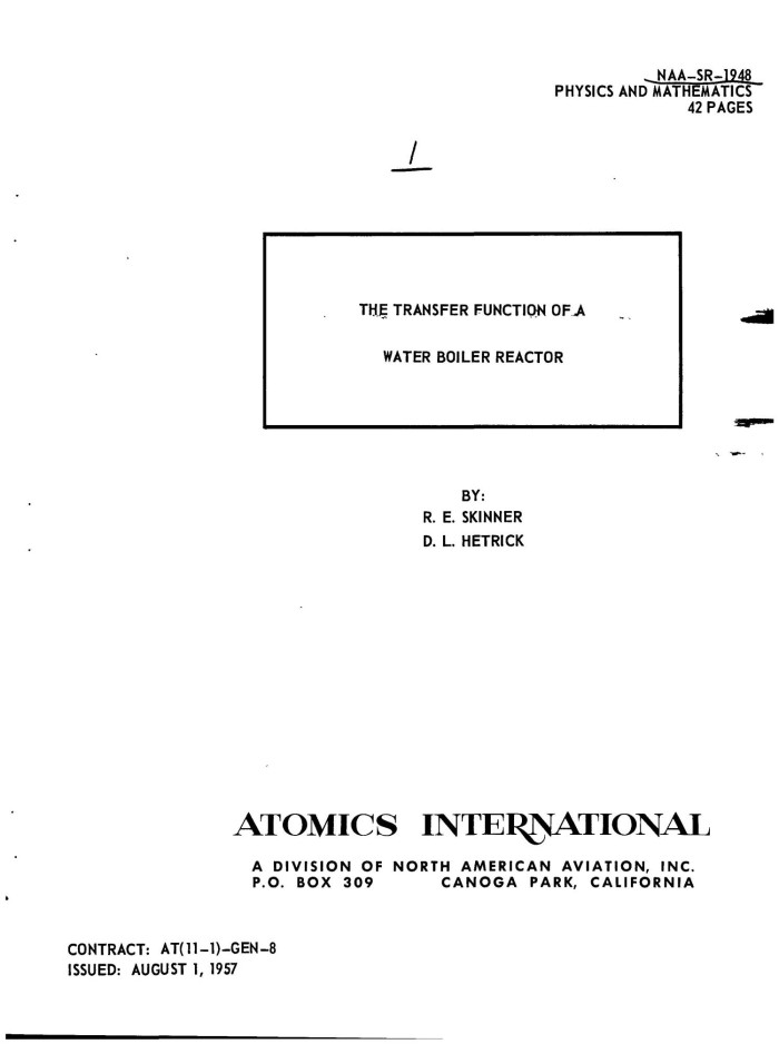 THE TRANSFER FUNCTION OF A WATER BOILER REACTOR - Digital Library